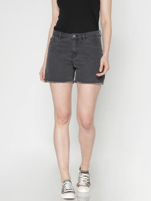 Black Low Rise Raw Edge Denim Shorts