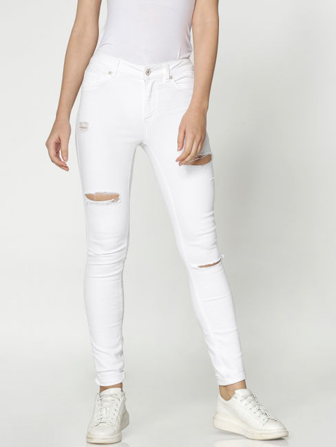 White Low Rise Ripped Skinny Fit Jeans