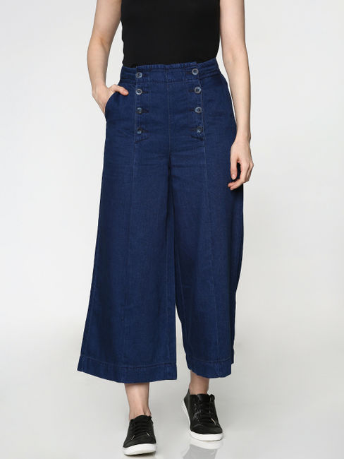 Blue Low Rise Wide Leg Ankle Length Comfort Fit Jeans