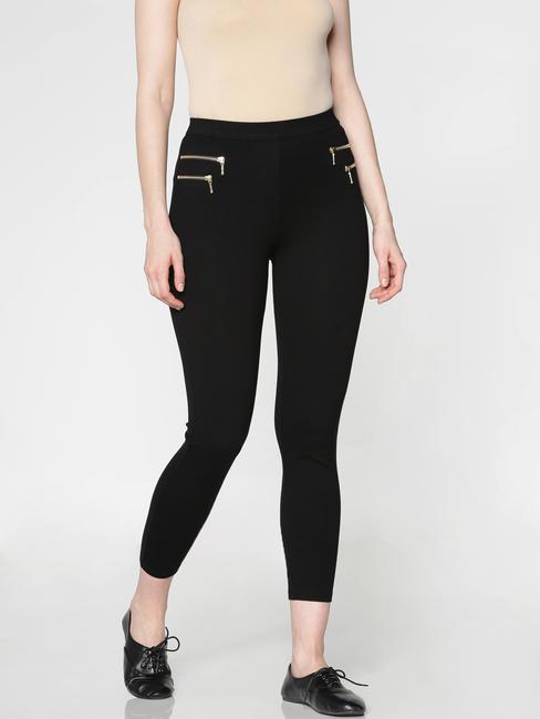 Black High Rise Golden Zip Detail Ankle Length Skinny Fit Leggings