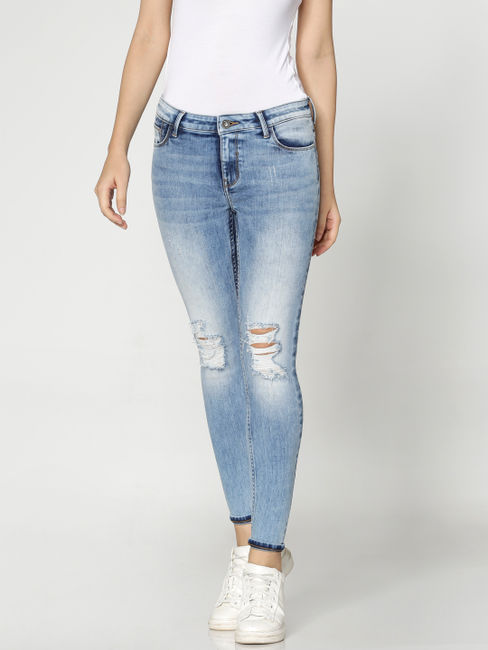 Light Blue Mid Rise Knee Ripped Washed Skinny Fit Jeans