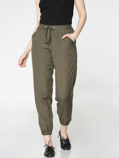 Green Mid Rise Drawstring Waist and Hem Relaxed Fit Pants