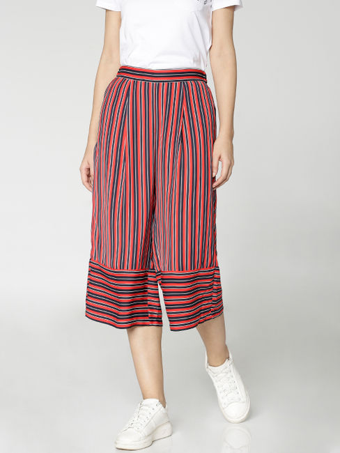 Navy Blue Colour Blocked Striped Mid Rise Cropped Culottes