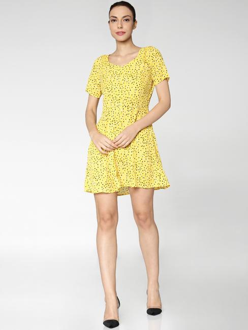 Yellow Printed Skater Dress