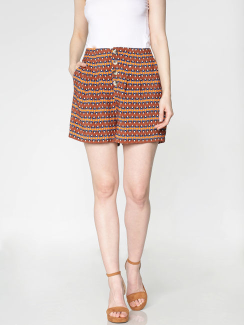 Brown Mid Rise Abstract Print Shorts