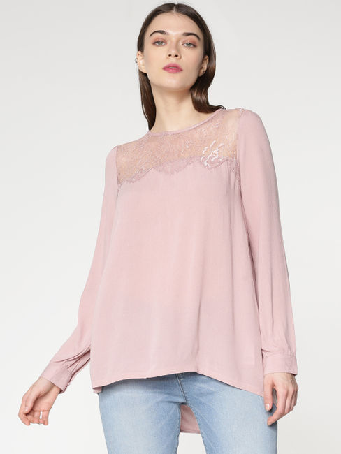 Pink Sheer Lace and Back Drawstring Detail Top