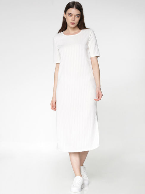 White Side Slit Midi Jersey Dress