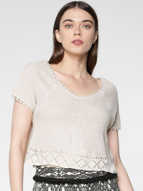 Grey Crochet Slim Fit Knit Cropped Pullover