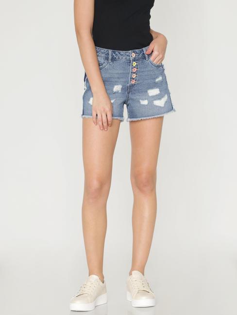 Blue Mid Rise Ripped Denim Shorts