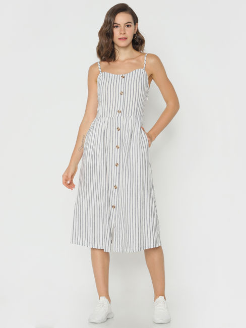 White Striped Spaghetti Straps Midi Dress