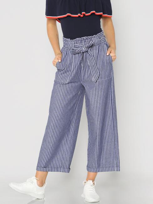 Blue High Rise Striped Paper Bag Waist Pants