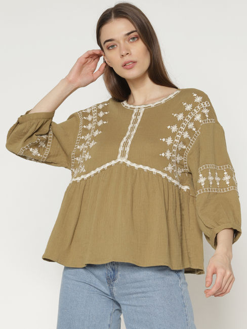 Brown Embroidery Detail Flared Top