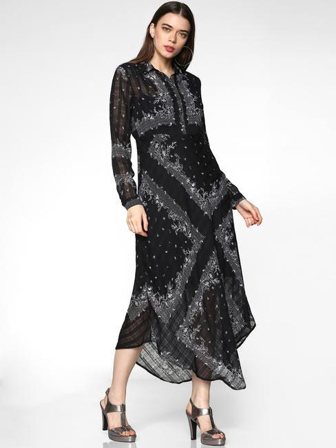 Black All Over Floral Print Asymmetric Hem Slim Fit Maxi Dress