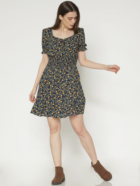 Navy Blue All Over Floral Print Fit & Flare Dress