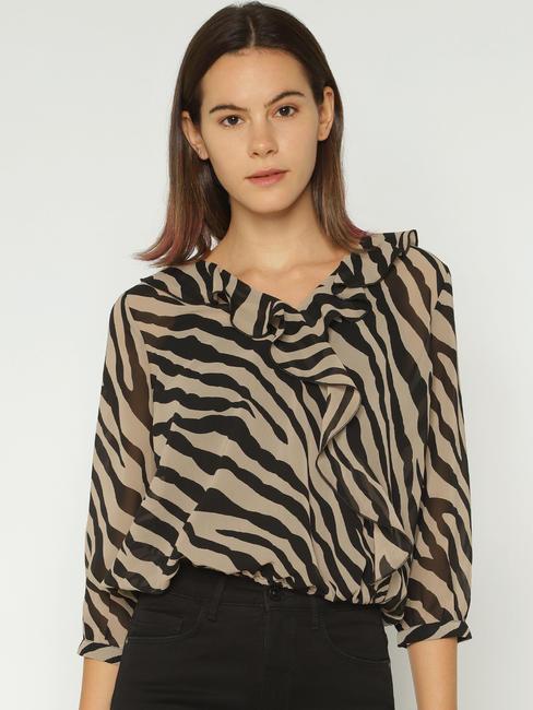 Brown Animal Print Sheer Cropped Top