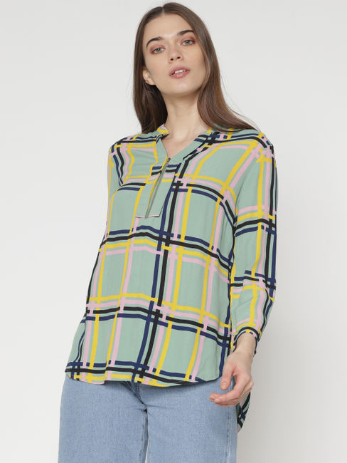 Green Multicoloured Check Print Shirt