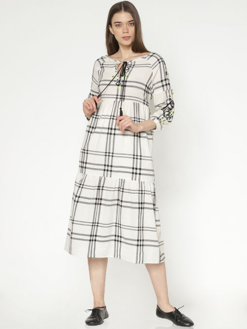 White Check Embroidered Midi Dress