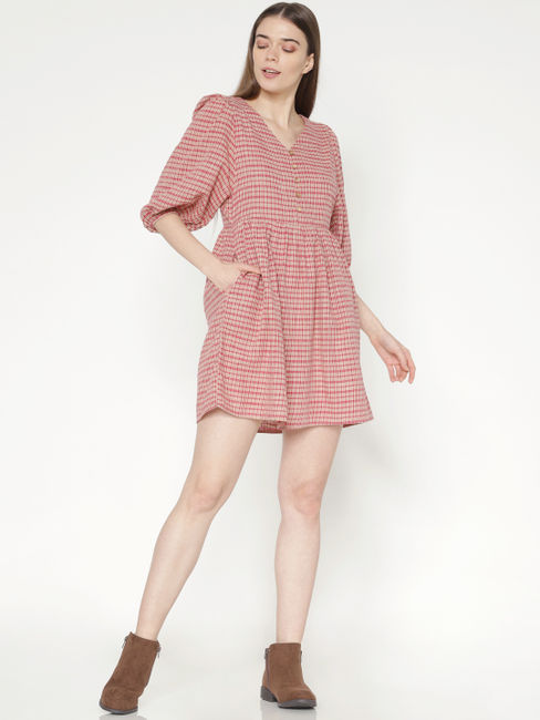 Brown Textured Check Print Mini Dress