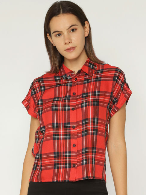 Red Check Tape Detail Shirt