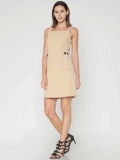 Beige Bodycon Mini Dress