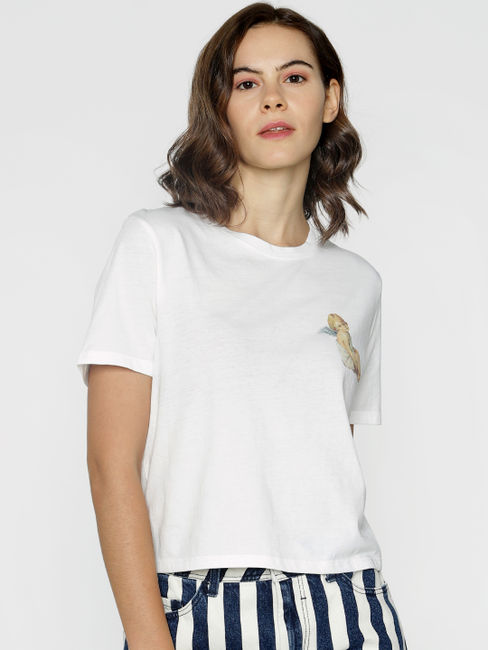 ft Ananya Panday White Text Print T-shirt