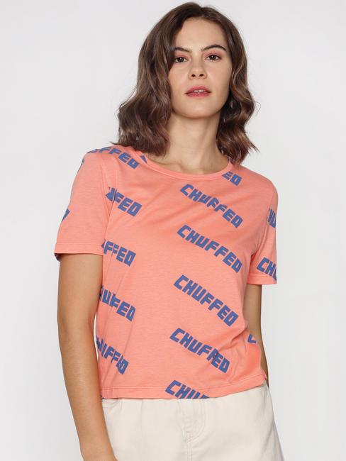 ft Ananya Panday Coral Text Print T-shirt