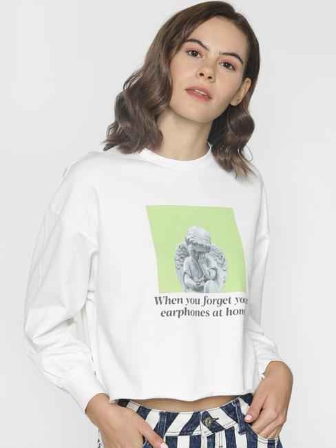 ft Ananya Panday White Graphic Print Sweatshirt