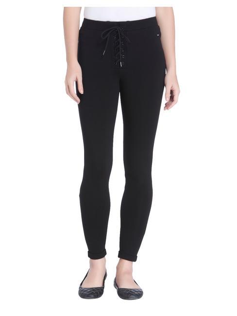 Black Lace Up Detail Leggings