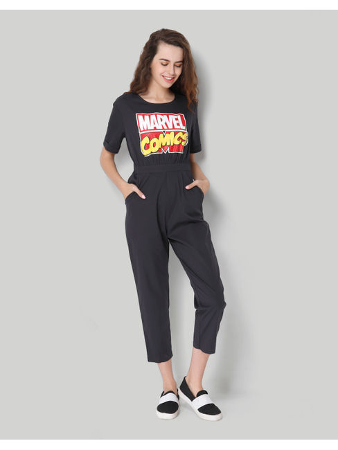 X Marvel Black Graphic Print Jumpsuit