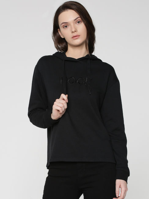 Black Rock Text Print Hooded Sweatshirt