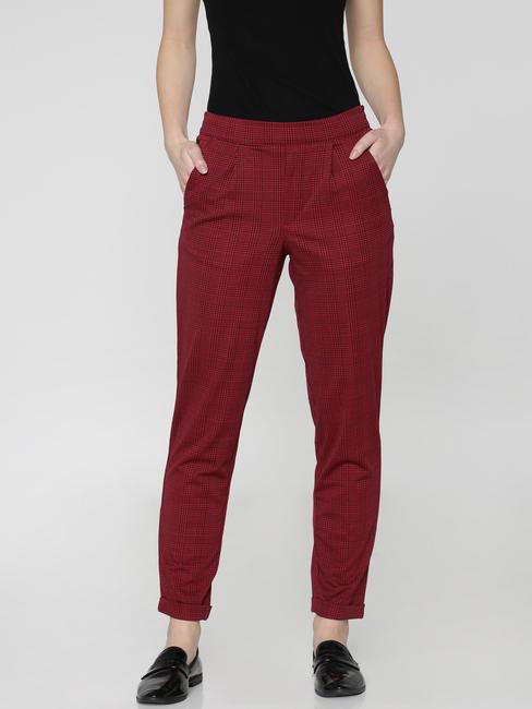 Black Mid Rise Checks Regular Fit Pants