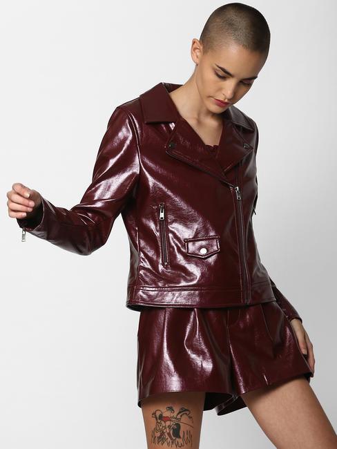 Burgundy Faux Leather Biker Jacket