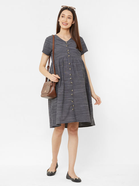 Classic Grey Cotton Maternity Dress