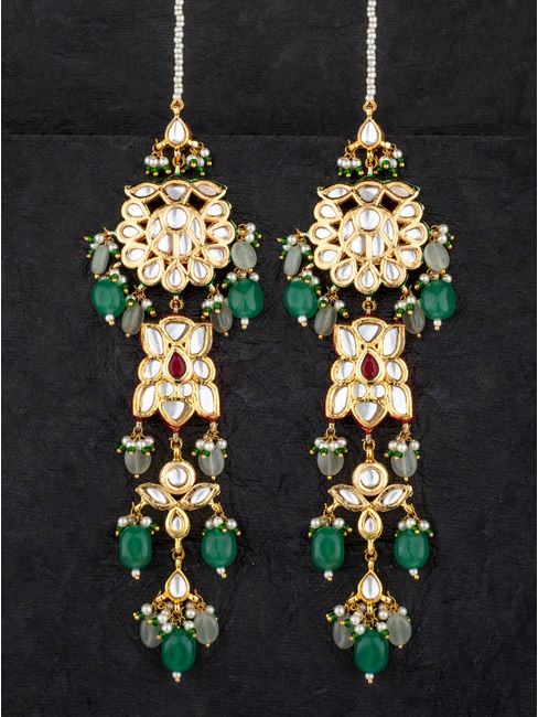 Dual Tone Emerald Earrings