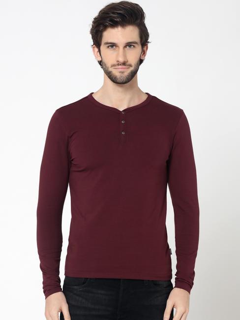 Burgundy Full Sleeves Henley T-Shirt