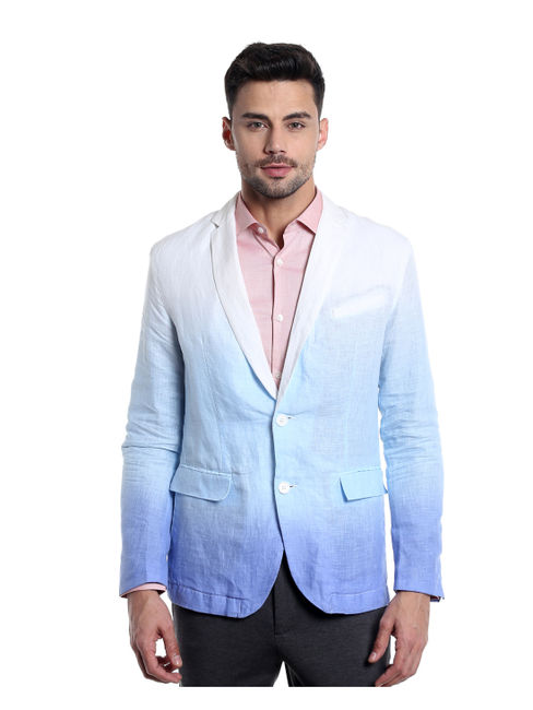 Light Blue Ombre Linen Blazer