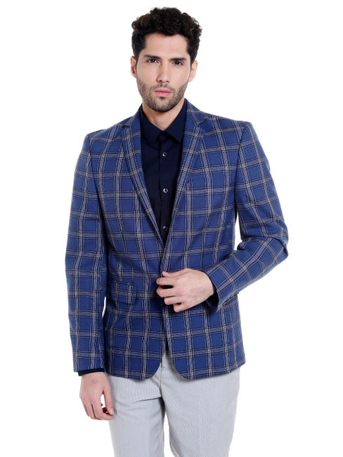 Blue Check Slim Fit Blazer
