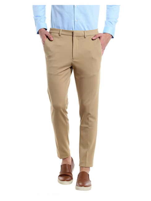 Beige Cropped Slim Fit Trousers