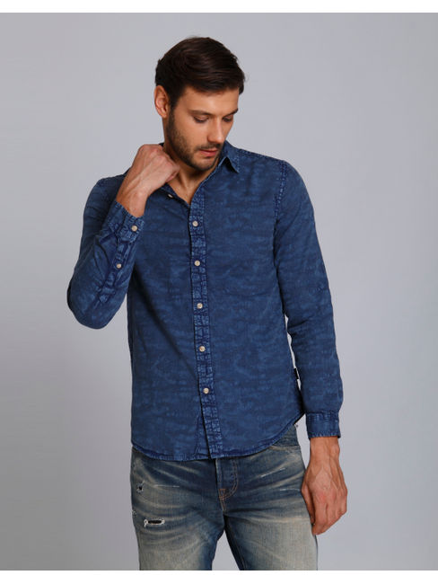 Blue Textured Slim Fit Shirt