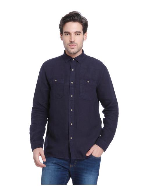 Dark Blue Linen Slim Fit Shirt