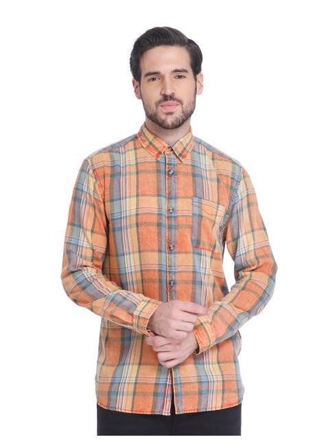Orange Check Slim Fit Shirt