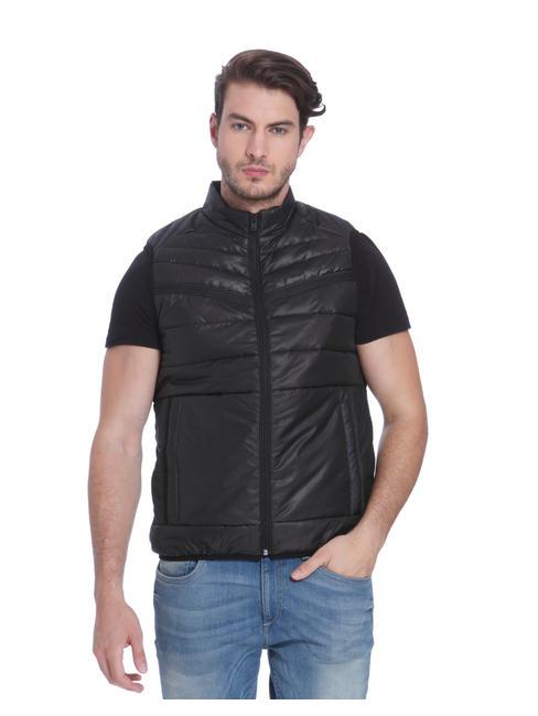 Black Sleeveless Bomber Jacket