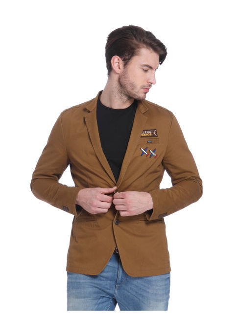 Brown Badge Detail Blazer