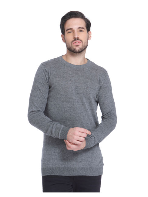 Grey Knit Crew Neck Sweatshirt