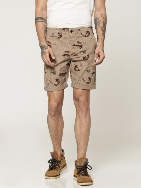 Brown All Over Printed Chino Slim Shorts