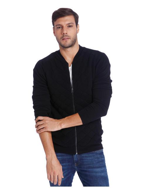 Black Quilted Zip Up Cardigan
