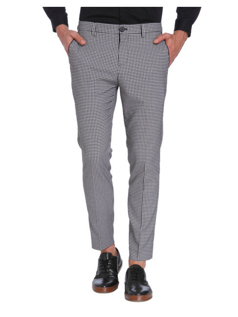 Gingham Print Slim Fit Trousers
