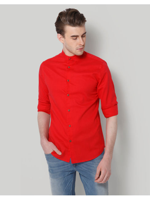 Red Mandarin Collar Slim Fit Shirt