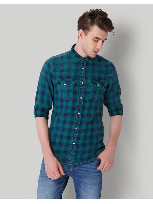 Blue & Green Check Slim Fit Shirt