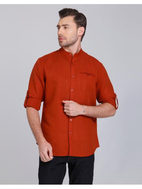Rust Mandarin Collar Linen Shirt